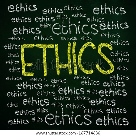 ethics words written with chalk on blackboard - stock photo