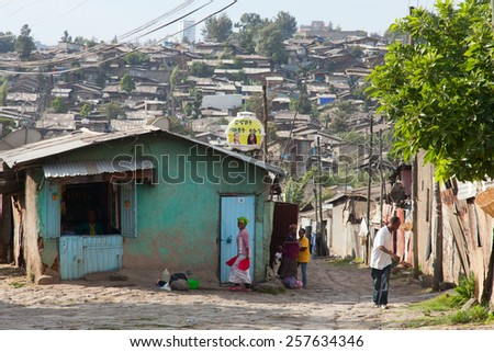 ETHIOPIA ADDIS ABABA,DECEMBER 12,2013. People on the street in Addis Ababa Decemder 12,2013.   - stock photo