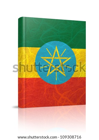 Ethiopia flag book. Mulberry paper on white background.
