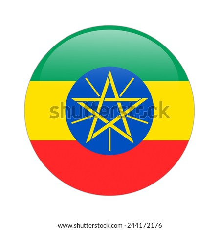 Ethiopia flag button on white
