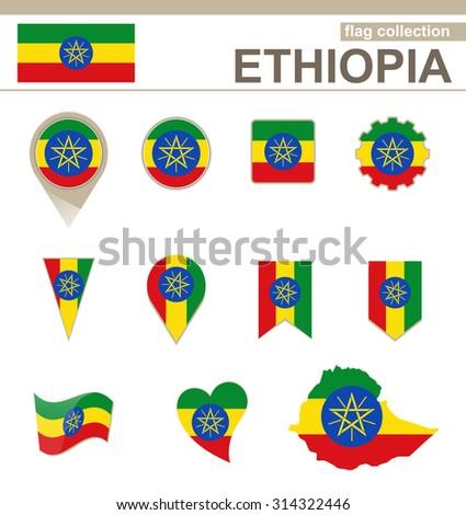 Ethiopia Flag Collection, 12 versions, Rasterized Copy - stock photo