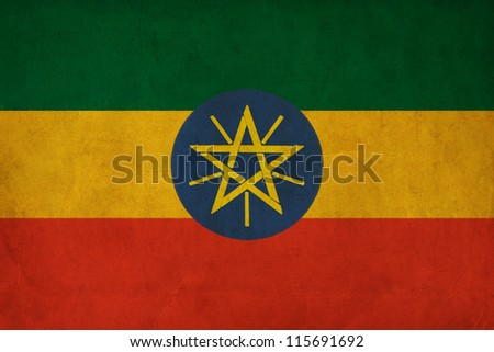 Ethiopia flag drawing ,grunge and retro flag series - stock photo