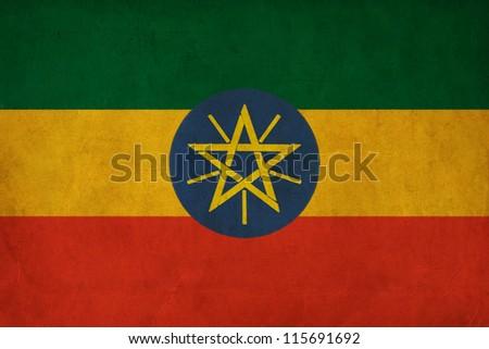 Ethiopia flag drawing ,grunge and retro flag series - stock photo