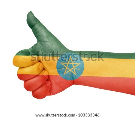 Ethiopia flag on thumb up gesture like icon on white background - stock photo