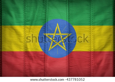 Ethiopia flag pattern on synthetic leather texture, 3D illustration style