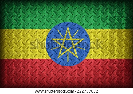 Ethiopia flag pattern on the diamond metal plate texture ,vintage style - stock photo