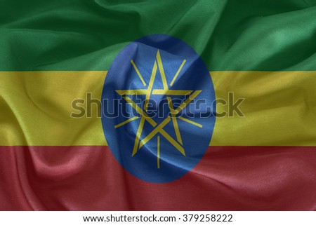 Ethiopia flag pattern on the fabric texture