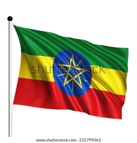 Ethiopia flag with fabric structure on white background - stock photo