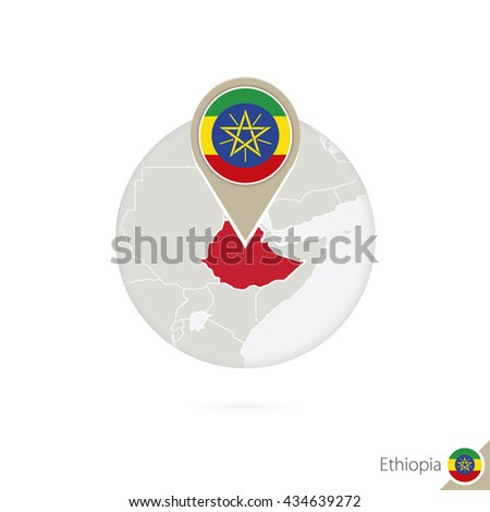 Ethiopia map and flag in circle. Map of Ethiopia, Ethiopia flag pin. Map of Ethiopia in the style of the globe. Raster copy. - stock photo