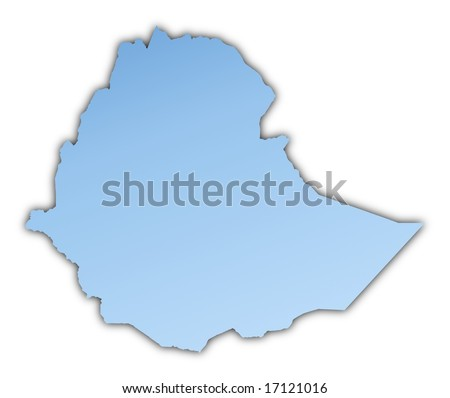 Ethiopia map light blue map with shadow. High resolution. Mercator projection. - stock photo