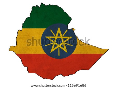Ethiopia map on Ethiopia  flag drawing ,grunge and retro flag series - stock photo