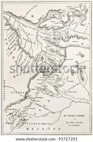 Ethiopia old map, from Gondar to Takeze river. By unidentified author, published on Le Tour du Monde, Paris, 1867 - stock photo
