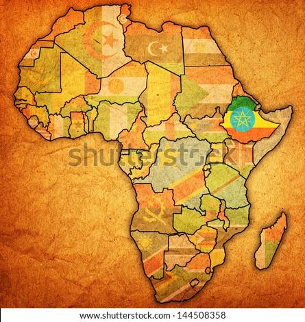 Ethiopia On Actual Vintage Political Map Stock Illustration