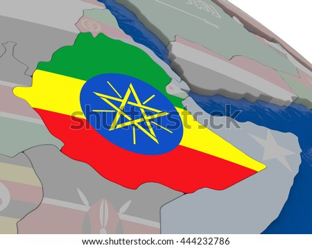 Ethiopia with flag highlighted on model of globe. 3D illustration - stock photo