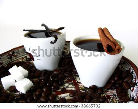 Ethiopian arabian coffee with different aroma - stock photo