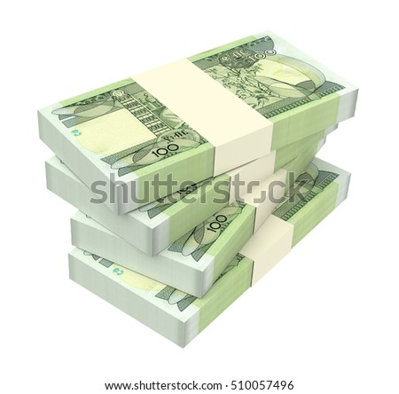 Ethiopian birr bills isolated on white background. 3D illustration.