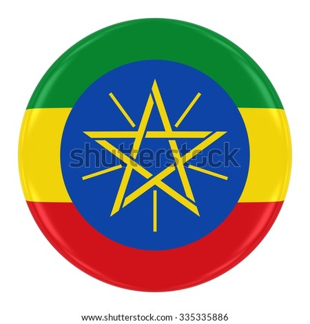 Ethiopian Flag Badge - Flag of Ethiopia Button Isolated on White