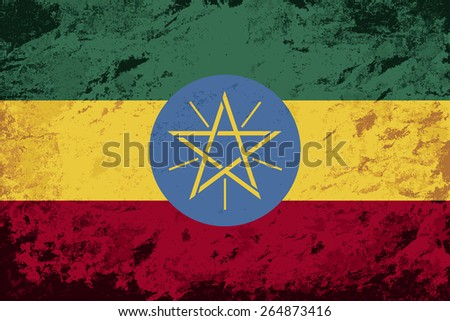 Ethiopian flag Grunge background. Raster version