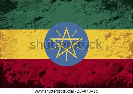 Ethiopian flag Grunge background. Raster version - stock photo