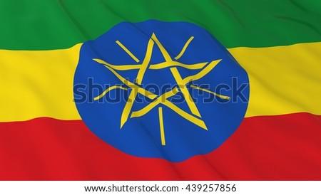 Ethiopian Flag HD Background - Flag of Ethiopia 3D Illustration - stock photo