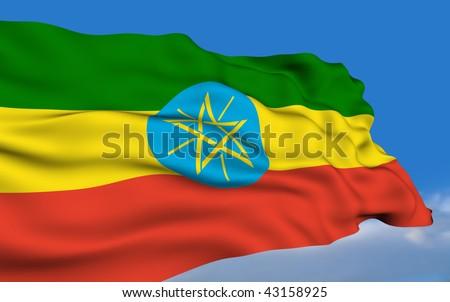 Ethiopian flag waving on wind - stock photo