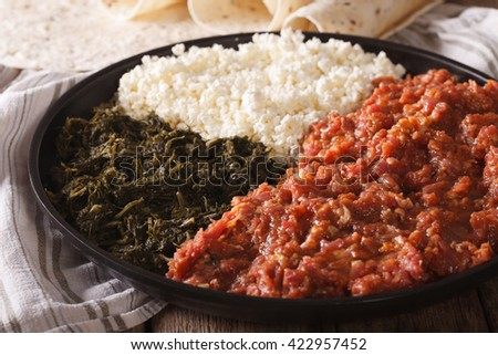 Ethiopian kitfo with herbs and cheese ayibe on a plate and injera close-up. horizontal
