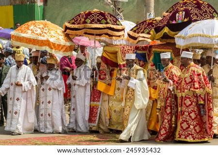 Ethiopian Orthodox followers celebrate Timket,  the Ethiopian Orthodox celebration of Epiphany, on January 19, 2015 in Addis Ababa. - stock photo