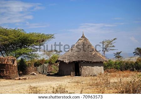 ethiopian traditional hut - stock photo