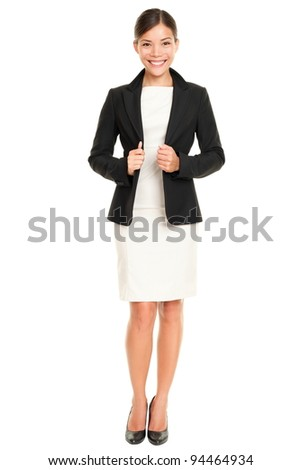 Ethnic Asian professional businesswoman standing confident in skirt suit isolated on white background. - stock photo