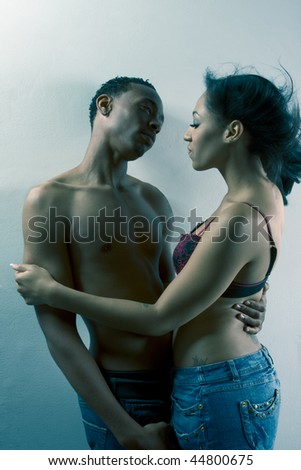 ethnic black African-American young couple in love - stock photo