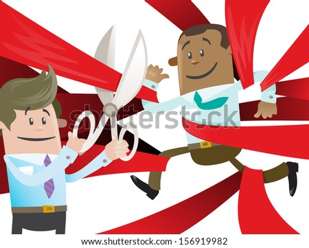 Ethnic Business Buddy is Cut Free from Red Tape. Fantastic illustration of Ethnic Business Buddy clearly very happy to be set free from the bureaucratic red tape that he's got caught up in. - stock photo