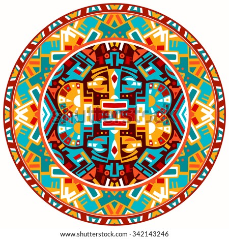 Ethnic circle reminiscent of the Mayan calendar - stock photo