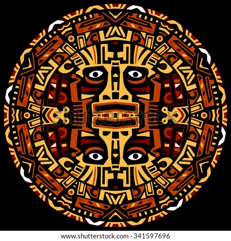 Ethnic circle reminiscent of the Mayan calendar and Aztec ornaments - stock photo