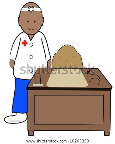 ethnic doctor in office standing behind desk - stock photo