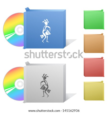 Ethnic little man with drum. Box with compact disc. - stock photo