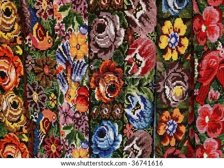 Ethnic Mexican handmade women's belts - stock photo