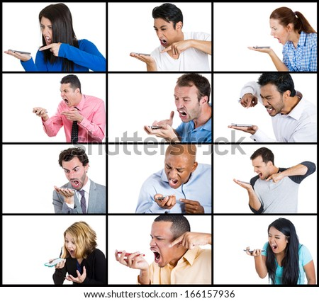 Ethnic multicultural closeup collage portrait of angry adult people shouting yelling screaming at mobile cell phone, isolated on white background. Negative human emotions, facial expressions, feelings - stock photo