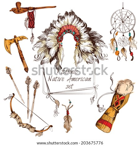 Ethnic native american indian tribal chief sketch colored decorative elements set isolated  illustration - stock photo