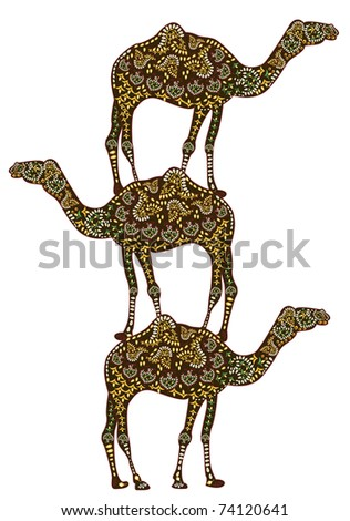 ethnic patterned on the backs of camels to each other. (in the east a camel - a sacred animal!) (raster version)