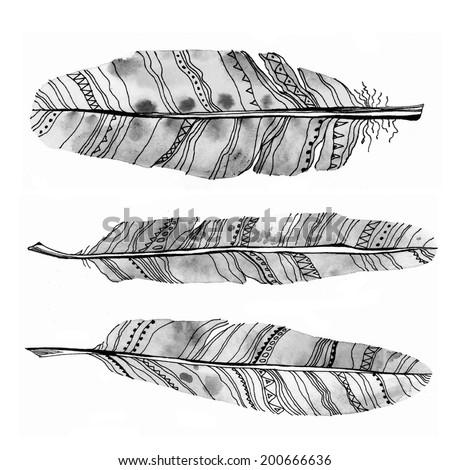 Ethnic tribal feathers set. Raster watercolor illustration. - stock photo