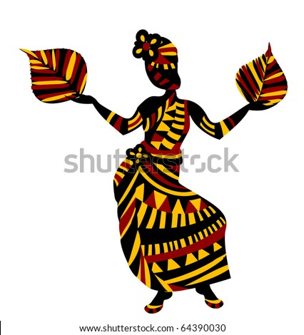ethnic woman happy a good harvest in ethnic style (raster version) - stock photo