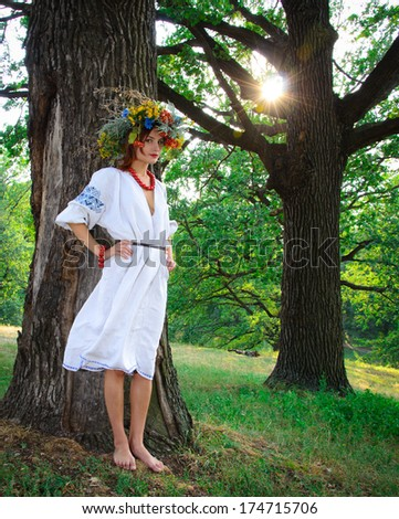 Ethnic woman with chaplet on a head - stock photo