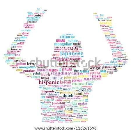 Ethnics variety: text image - stock photo