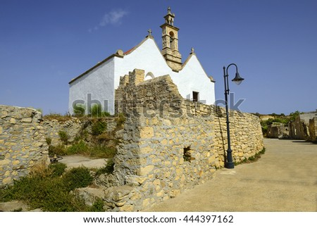 Etia village - church Saint Catherine, double-aisle temple with Later-Byzantine traces of construction. - stock photo