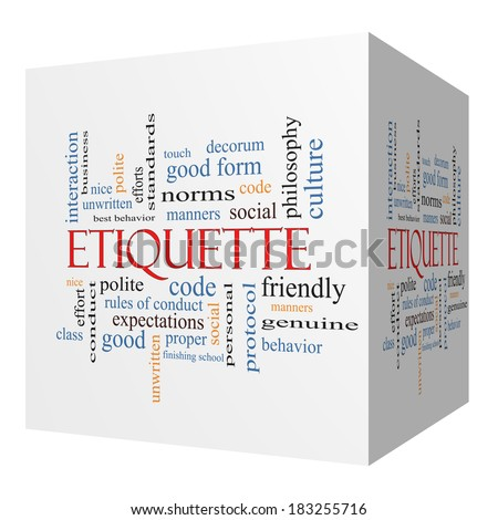 Etiquette 3D cube Word Cloud Concept with great terms such as manners, polite, social and more. - stock photo