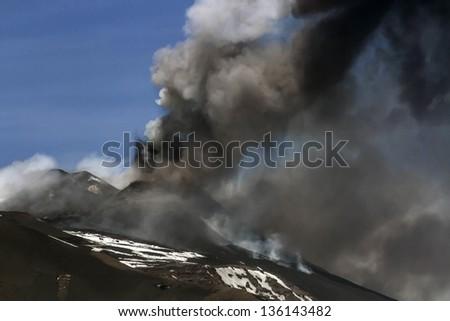 Etna eruption - stock photo
