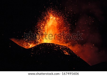 Etna eruption 15 December - stock photo