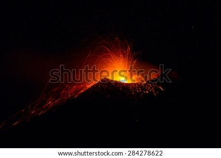 Etna eruption on May 2015, motion blur - stock photo