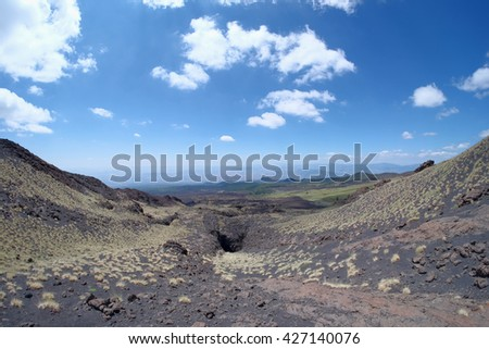Etna Park slope of lava channel eruptive mouths on 1605, Sicily