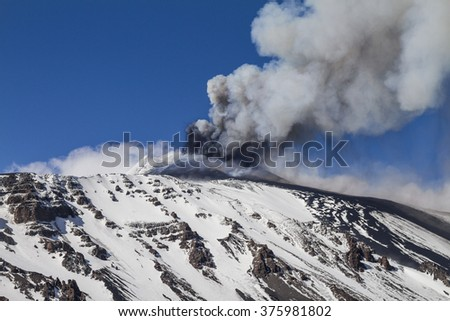 Etna, plume of gas and volcanic ash moved by the wind - stock photo